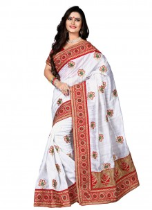Intricate Silk Resham Work Designer Saree