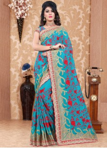 Intriguing Blue Classic Saree