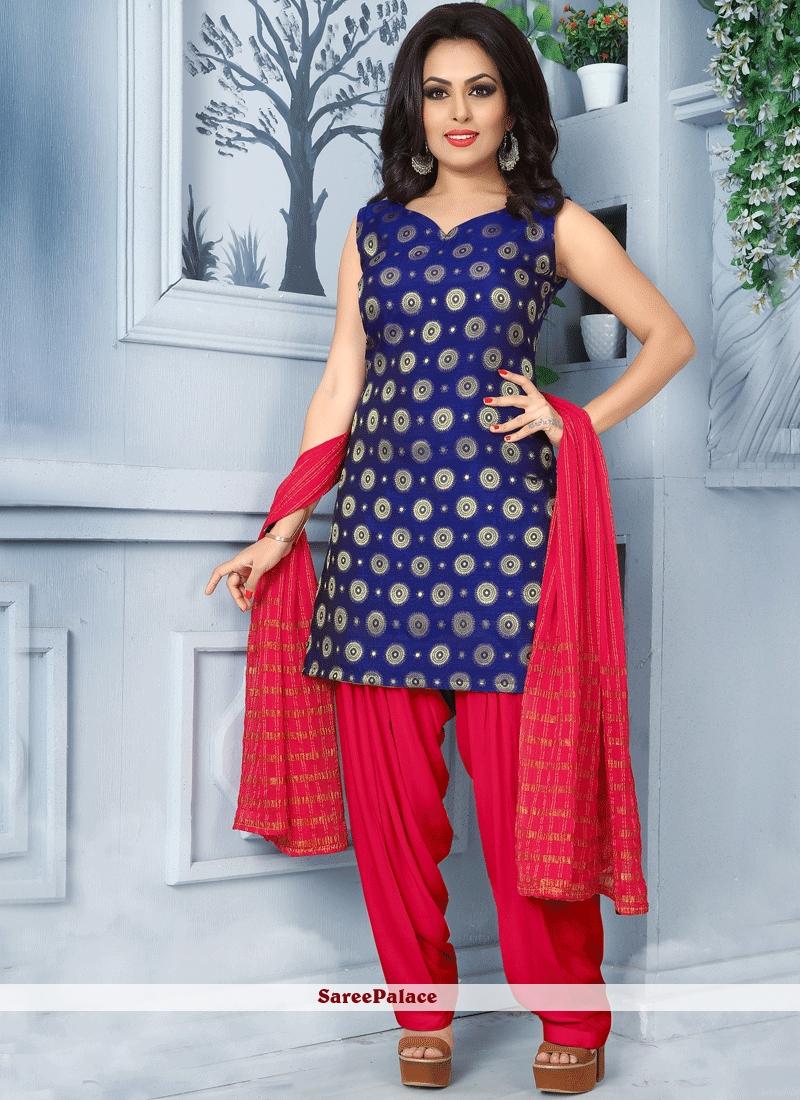 a1fe46c2e7 Buy Intriguing Navy Blue Banarasi Silk Punjabi Suit Online