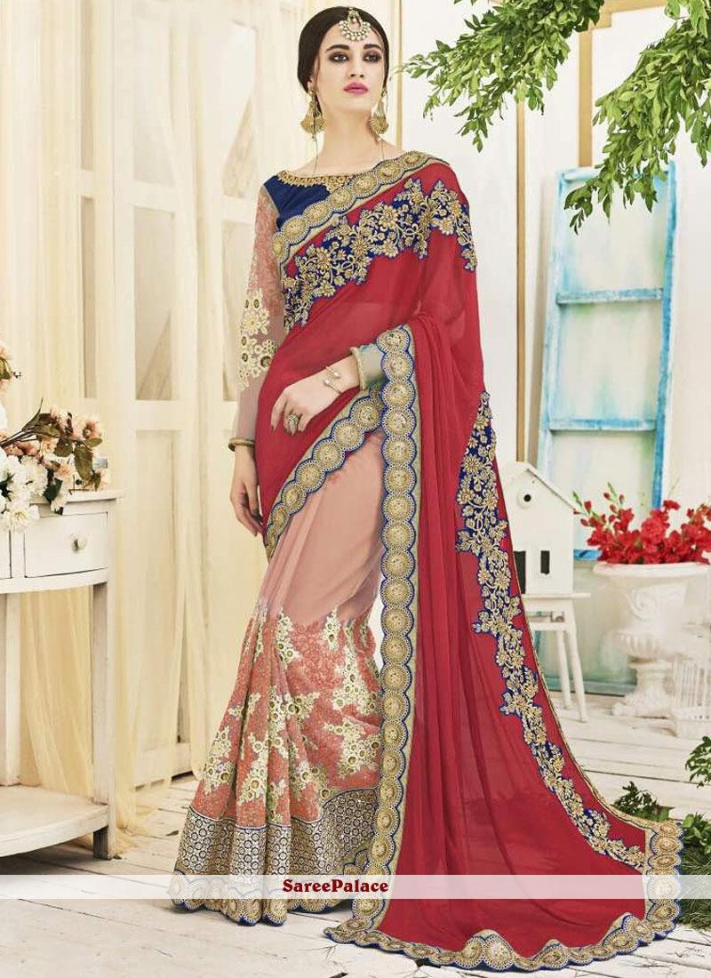 57b7233a2b Buy Intriguing Net Zari Work Designer Half N Half Saree Online