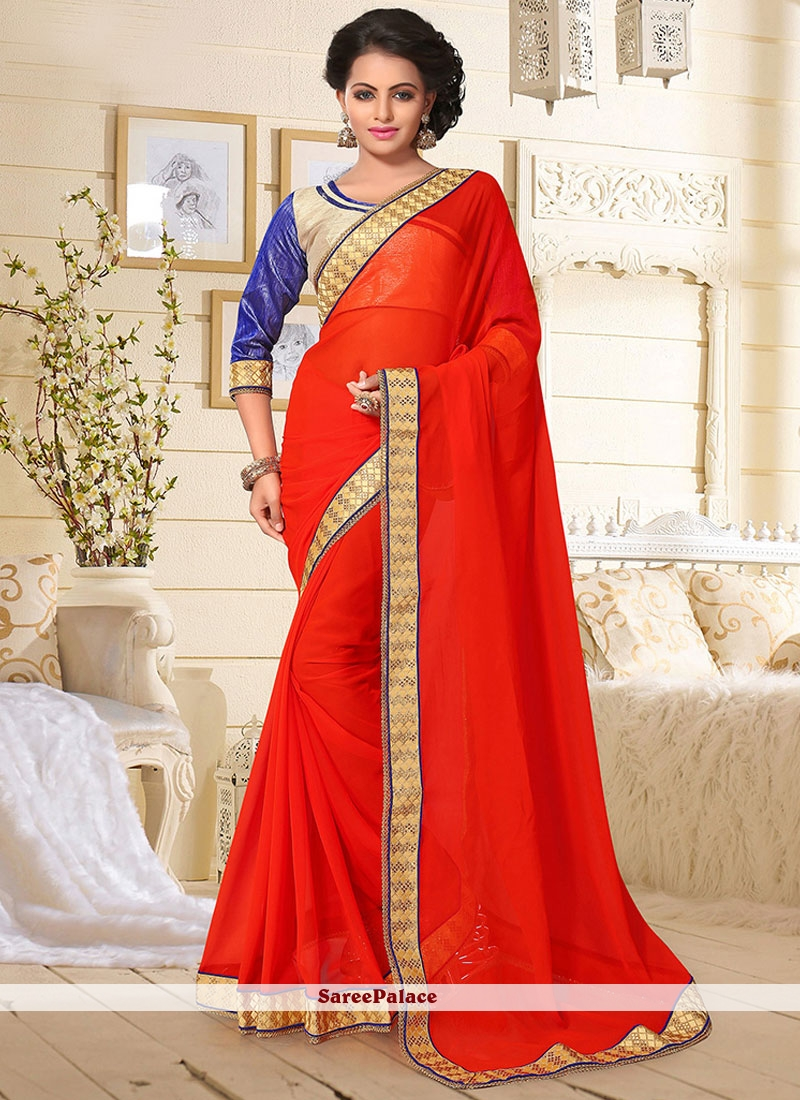 Intriguing Orange Patch Border Work Classic Saree