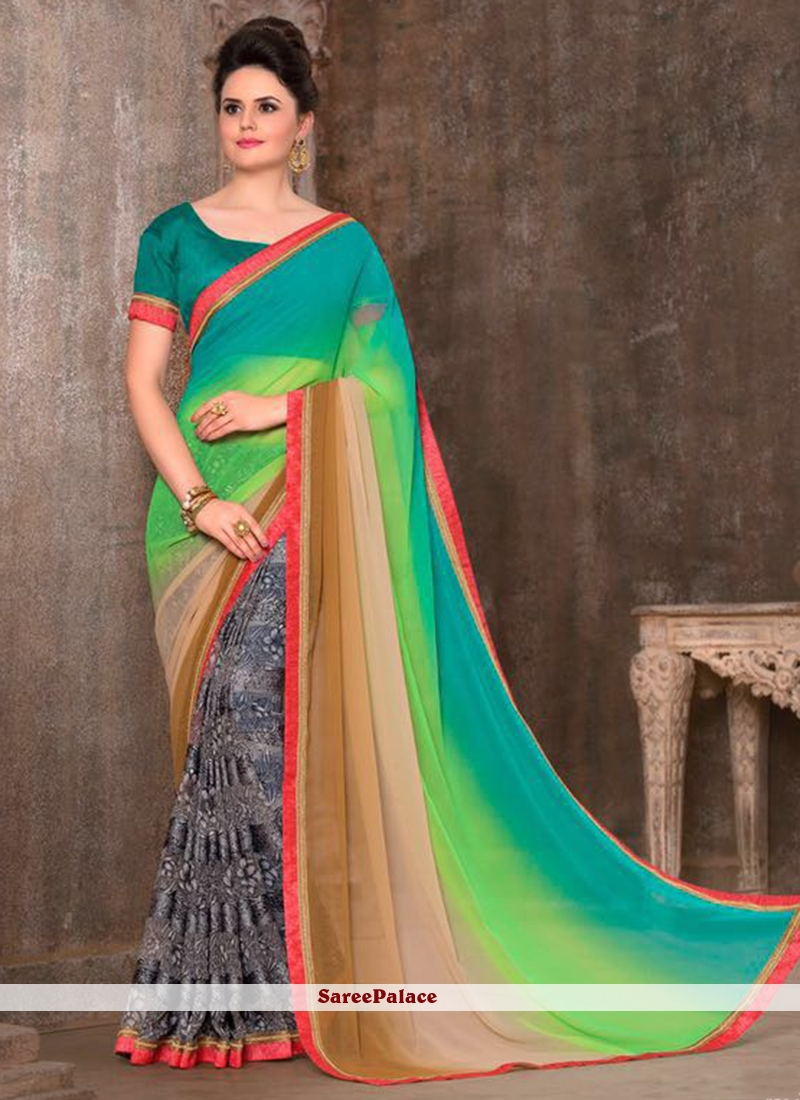Intriguing Print Work Faux Georgette Printed Saree
