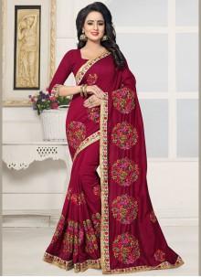 Intriguing Silk Red Designer Saree
