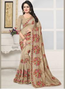 Intrinsic Cream Embroidered Work Silk Designer Saree