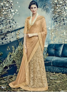 Invaluable Beige Lehenga Saree