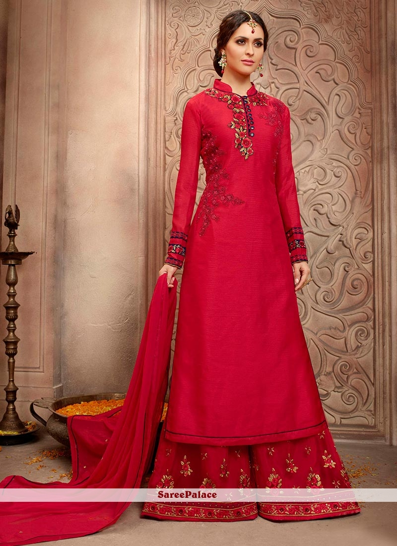 Invaluable Bhagalpuri Silk Red Embroidered Work Designer Palazzo Salwar Kameez