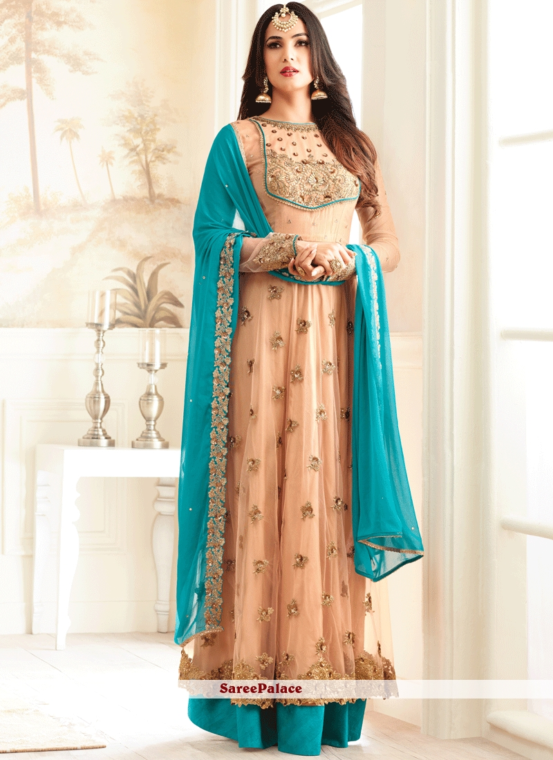 Invaluable Blue and Peach Resham Work Designer Palazzo Suit