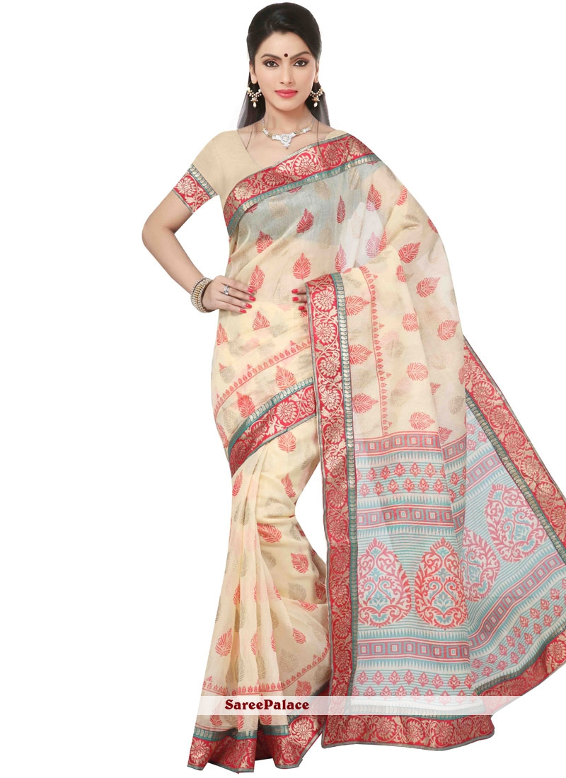 Invaluable Chanderi Cotton Multi Colour Print Work Printed Saree