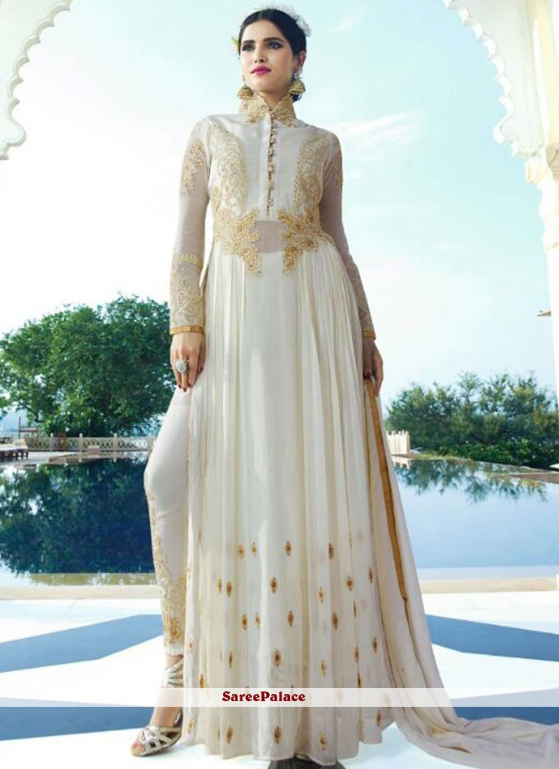 Off White Georgette Pant Style Suit