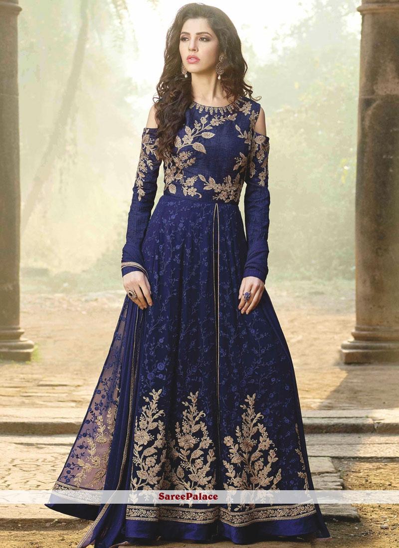 fad06a4ee94c Buy Invaluable Navy Blue Faux Georgette Floor Length Anarkali Suit Online