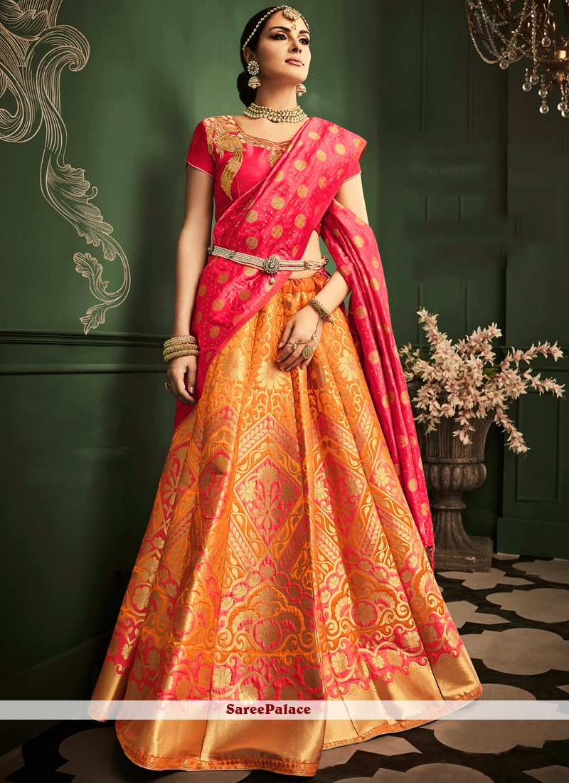 5a89222e7 Buy Invaluable Resham Work Orange and Pink Banarasi Silk Lehenga Choli  Online