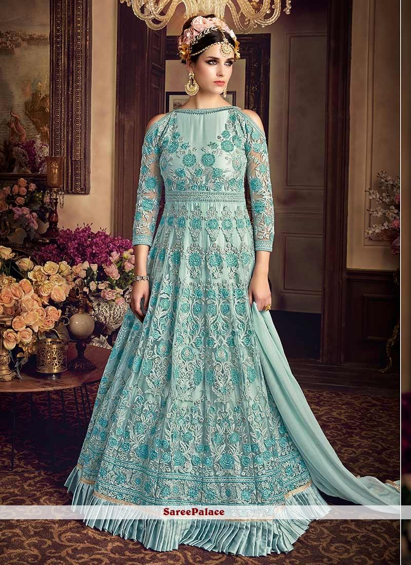 Buy Invigorating Lace Work Blue Net Floor Length Anarkali Suit Online
