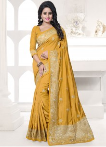 Invigorating Mustard Art Silk Traditional Designer Saree