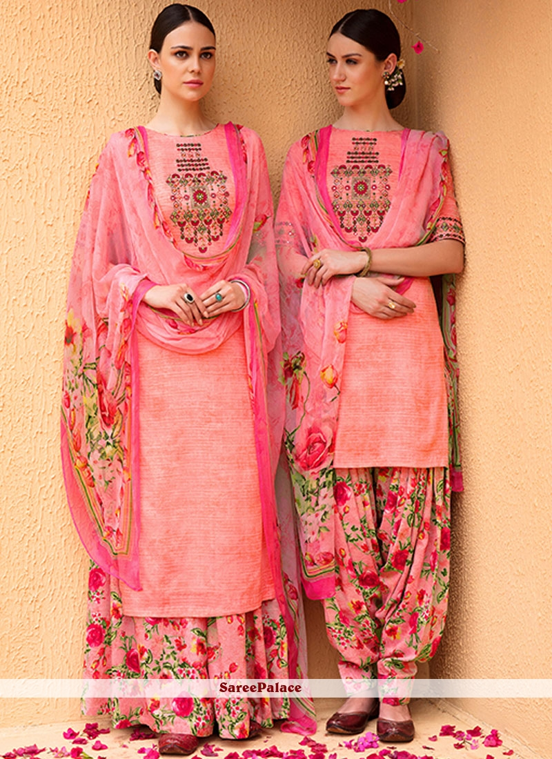Invigorating Pink Embroidered Work Designer Suit
