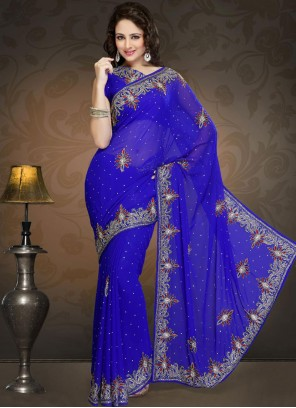 Irresistible Blue Embroidered Work Faux Georgette Classic Designer Saree