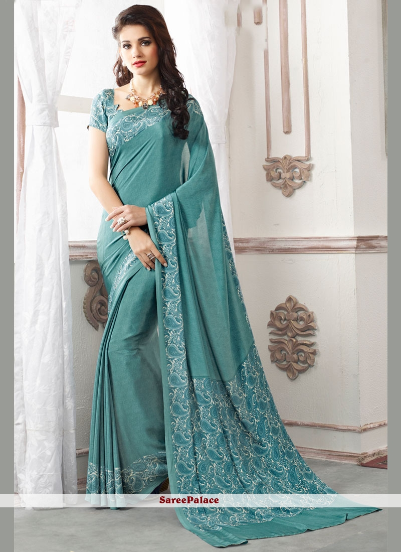 Irresistible Faux Crepe Blue Casual Saree