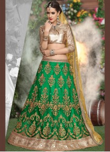 Irresistible Green Resham Work Net Lehenga Choli