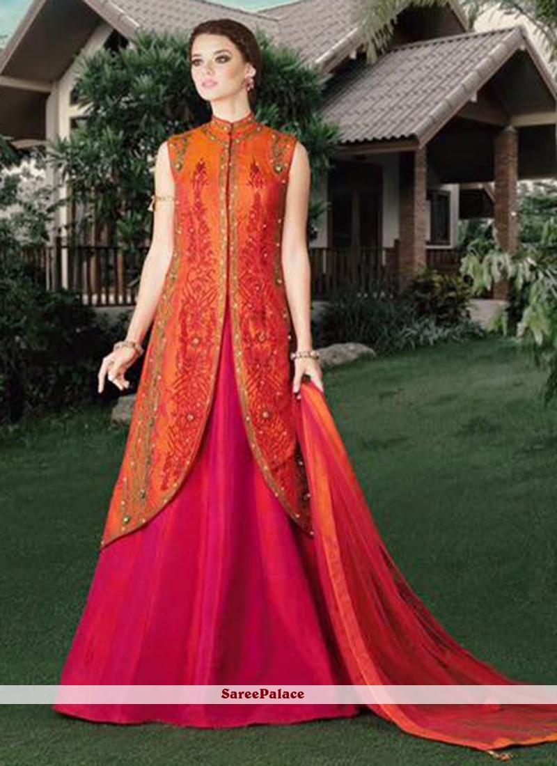 Irresistible Hot Pink and Orange Lehenga Choli