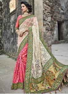 Irresistible Net Zari Work Half N Half Designer Saree