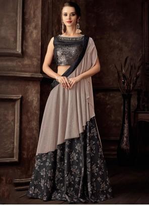 45f3c7f6a Jacquard Black Embroidered Lehenga Style Saree