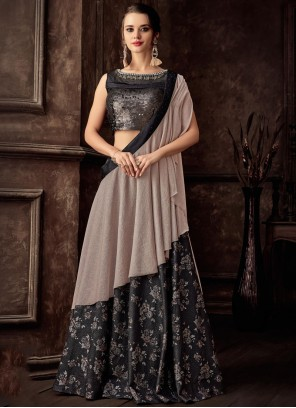 Jacquard Black Embroidered Lehenga Style Saree