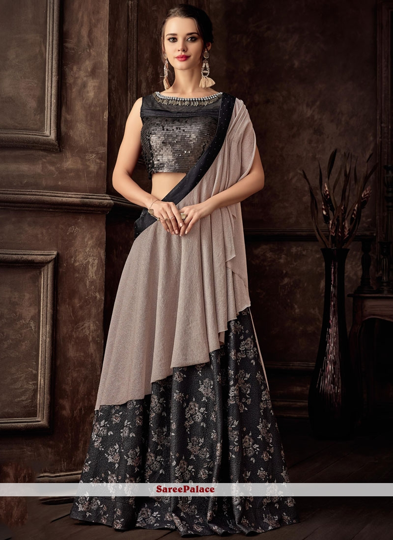Jacquard Black Embroidered Lehenga Style Saree