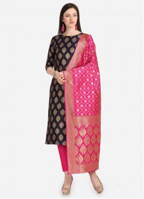 Jacquard Black Weaving Designer Salwar Kameez