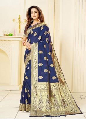 Jacquard Blue Fancy Trendy Saree