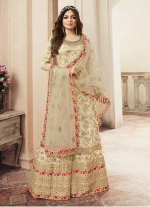 Jacquard Cream Salwar Kameez