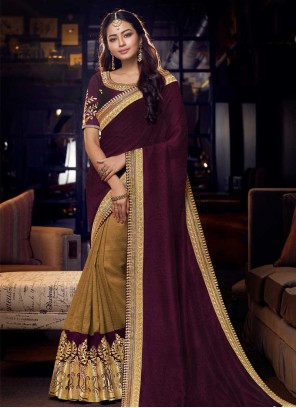 Jacquard Designer Half N Half Saree in Brown and Purple