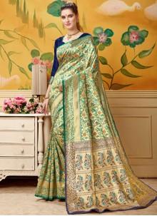 Jacquard Designer Traditional Saree in Cream and Green
