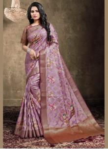 Multi Colour Jacquard Digital Print Bollywood Saree