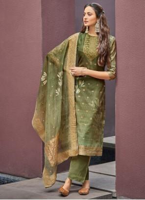 Green Jacquard Digital Print Pant Style Suit