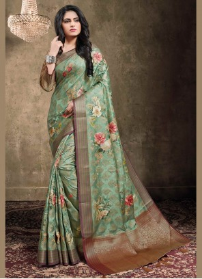 Green Jacquard Digital Print Trendy Saree