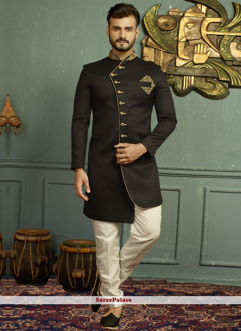 Jacquard Embroidered Black Indo Western