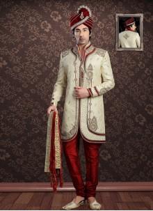 Jacquard Embroidered Cream Sherwani