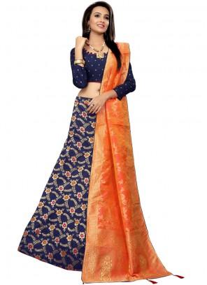 Jacquard Embroidered Designer Lehenga Choli in Navy Blue