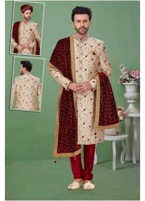 Jacquard Embroidered Gold Sherwani