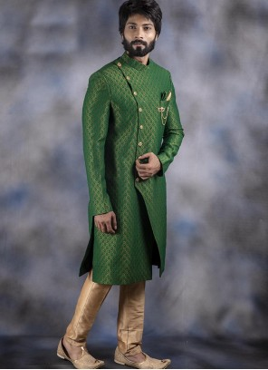 Jacquard Embroidered Indo Western in Green
