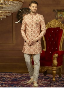 Jacquard Embroidered Indo Western in Peach