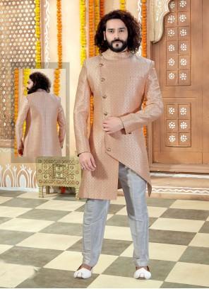 Jacquard Embroidered Peach Sherwani