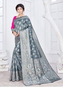 Jacquard Fancy Classic Saree in Grey