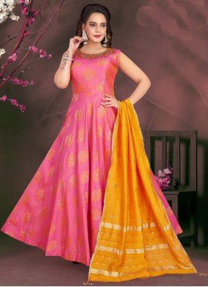 Jacquard Fancy Hot Pink Readymade Suit