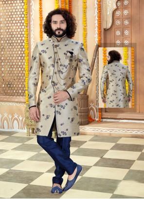 Jacquard Gold Embroidered Sherwani