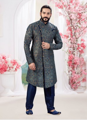 Jacquard Indo Western in Navy Blue