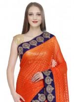 Jacquard Orange Classic Saree