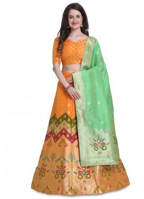 Jacquard Orange Woven Designer Lehenga Choli