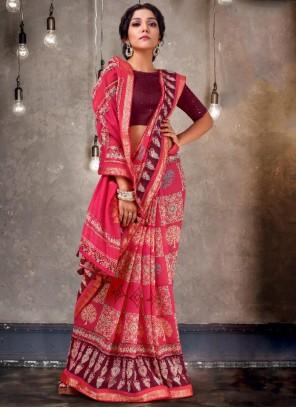 Pink Jacquard Party Traditional Saree