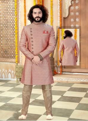 Jacquard Peach Embroidered Sherwani