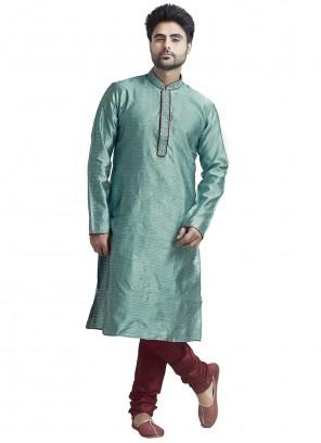 Jacquard Plain Sea Green Kurta Pyjama